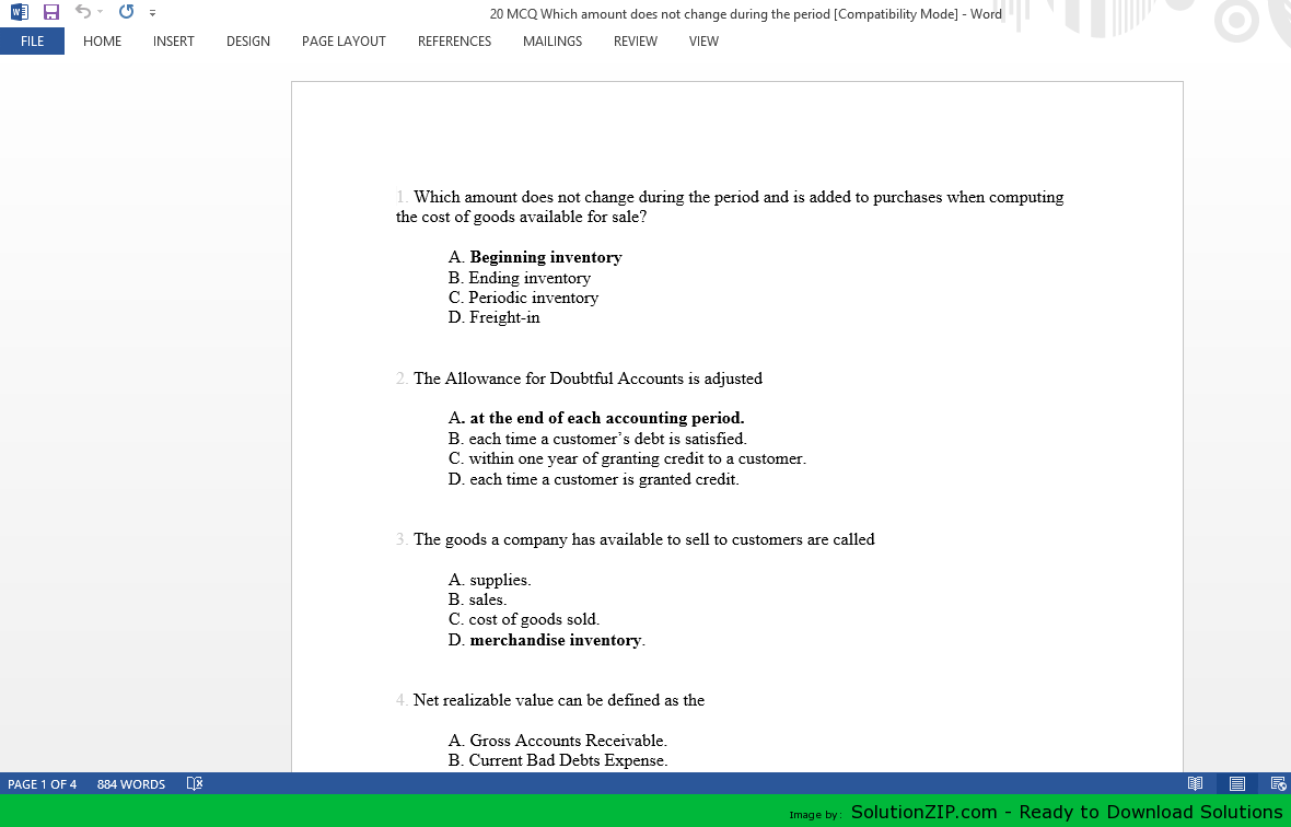 20 MCQ Which amount does not change during the period 1