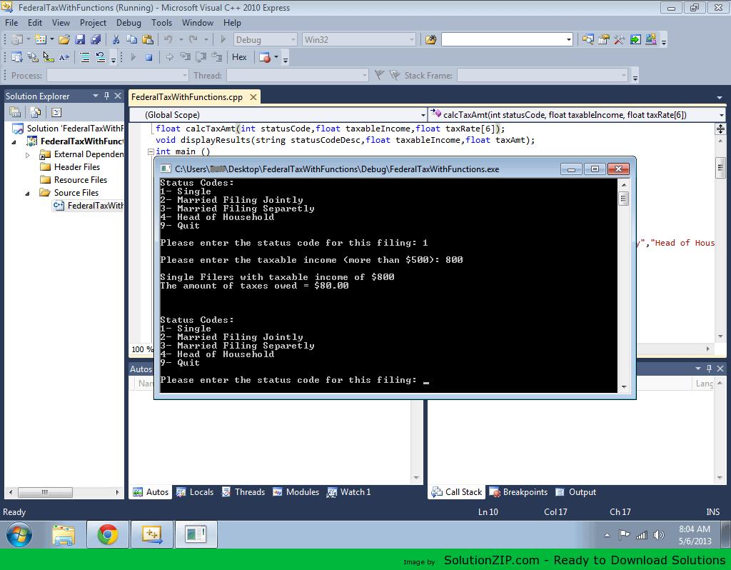 CISP 1610 – Programming in C++ Final Examination (Tax Calculation) 1