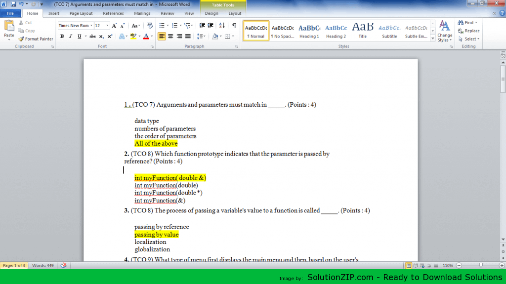 15 MCQ (TCO 7) Arguments and parameters must match in 1