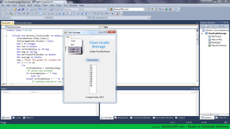 Class Grade Calculator Application 1