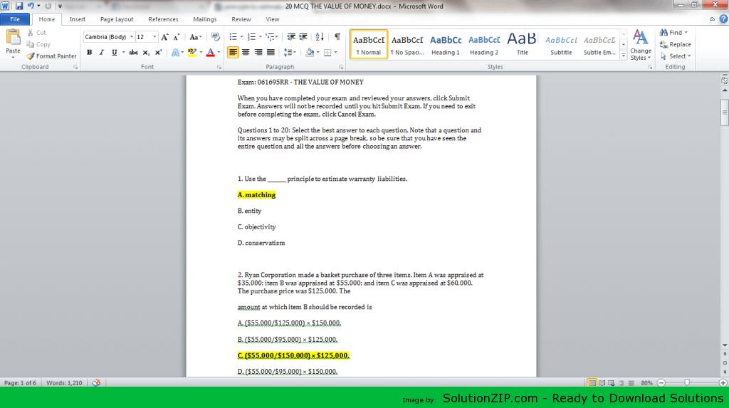 Exam: 061695RR - THE VALUE OF MONEY 1