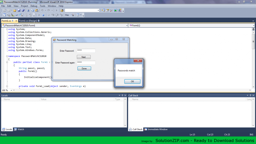 Password Matched CS 2010 1