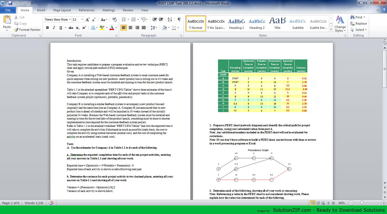 PERT CPM Task 309.3.2 1