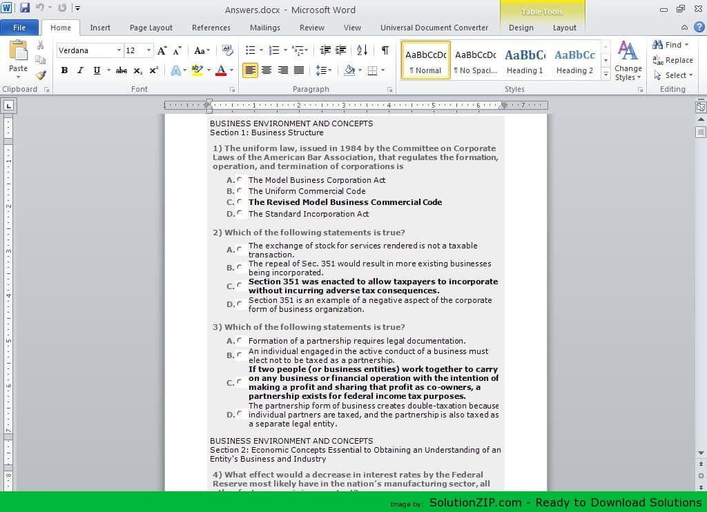 BUSINESS ENVIRONMENT AND CONCEPTS 1