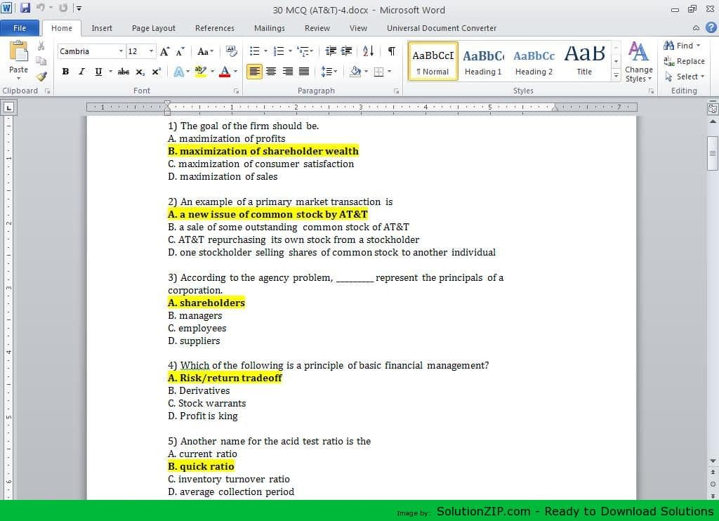 30 MCQ 1) The goal of the firm should be. 1