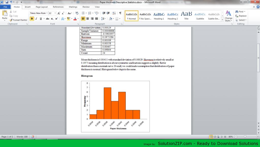 Paper thickness Descriptive Statistics 1