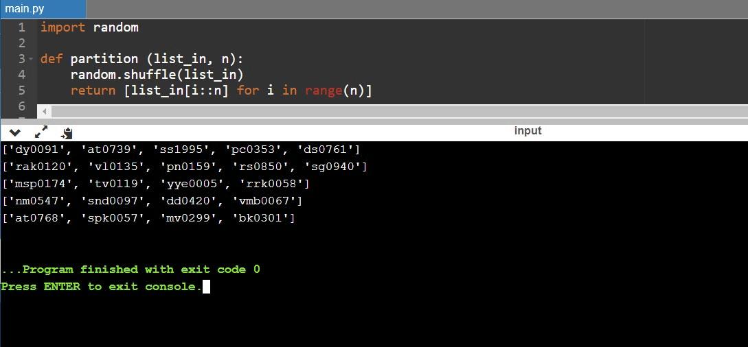 Random List Python 7
