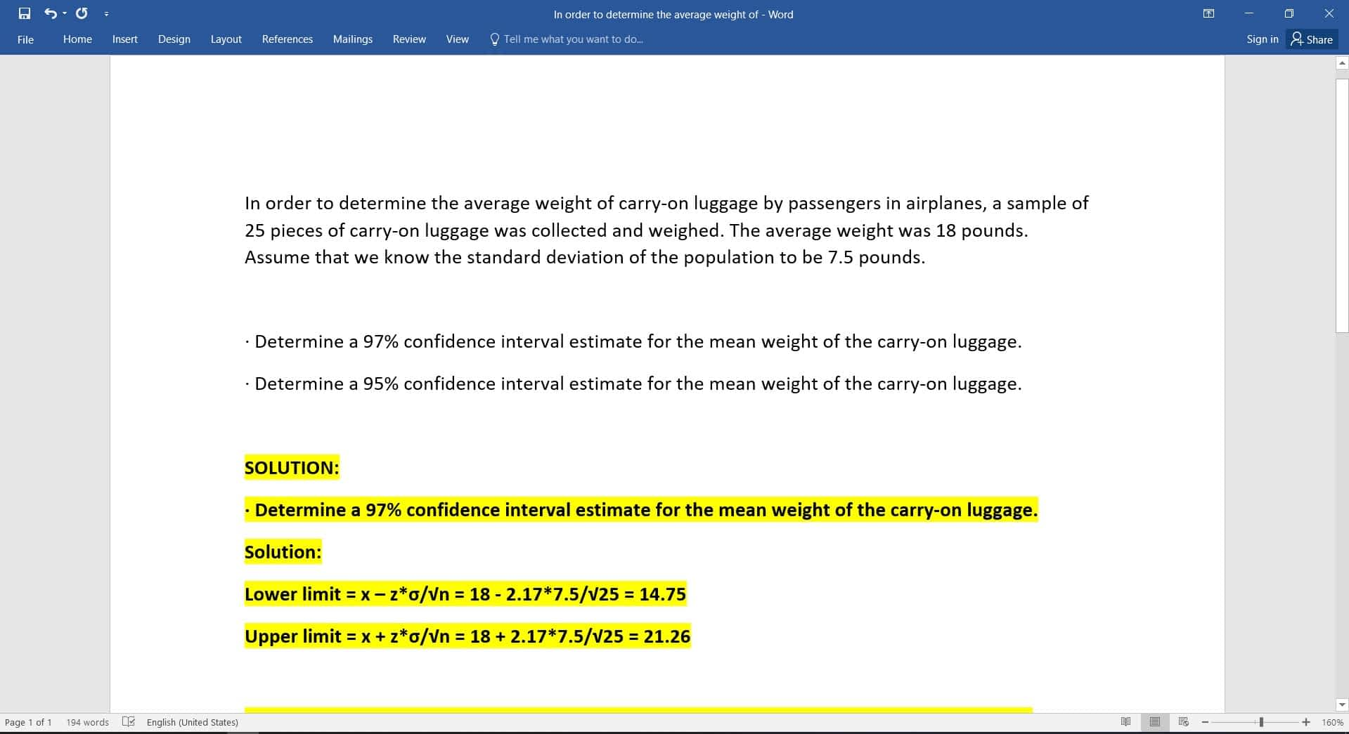 In order to determine the average weight of 1