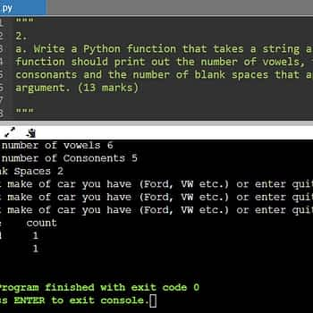 Vowels Consonants Car Python 4