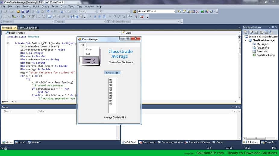 Class Grade Calculator Application 2