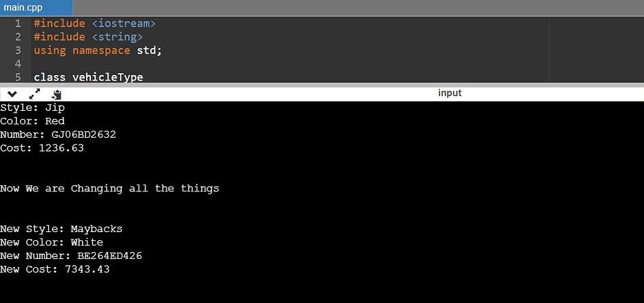 vehicleType C++ 8