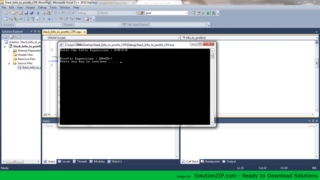 Stack Infix to postfix 1